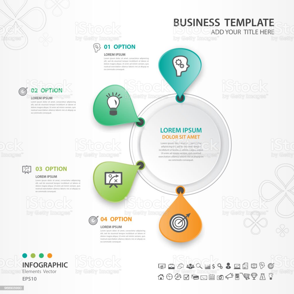 infographic elements template vector circle diagram with 4 steps