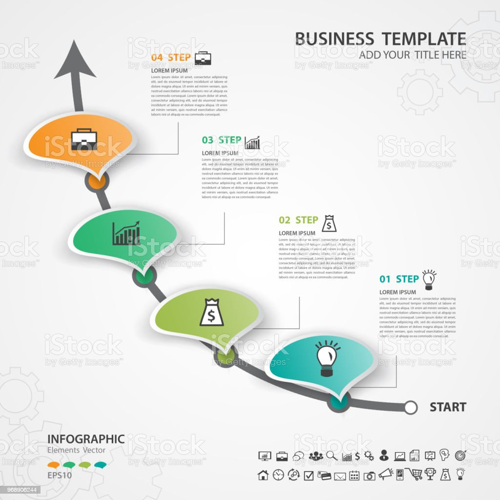 Infographic Elements Template Vector Circle Diagram With 4 Steps Process Flow Chart