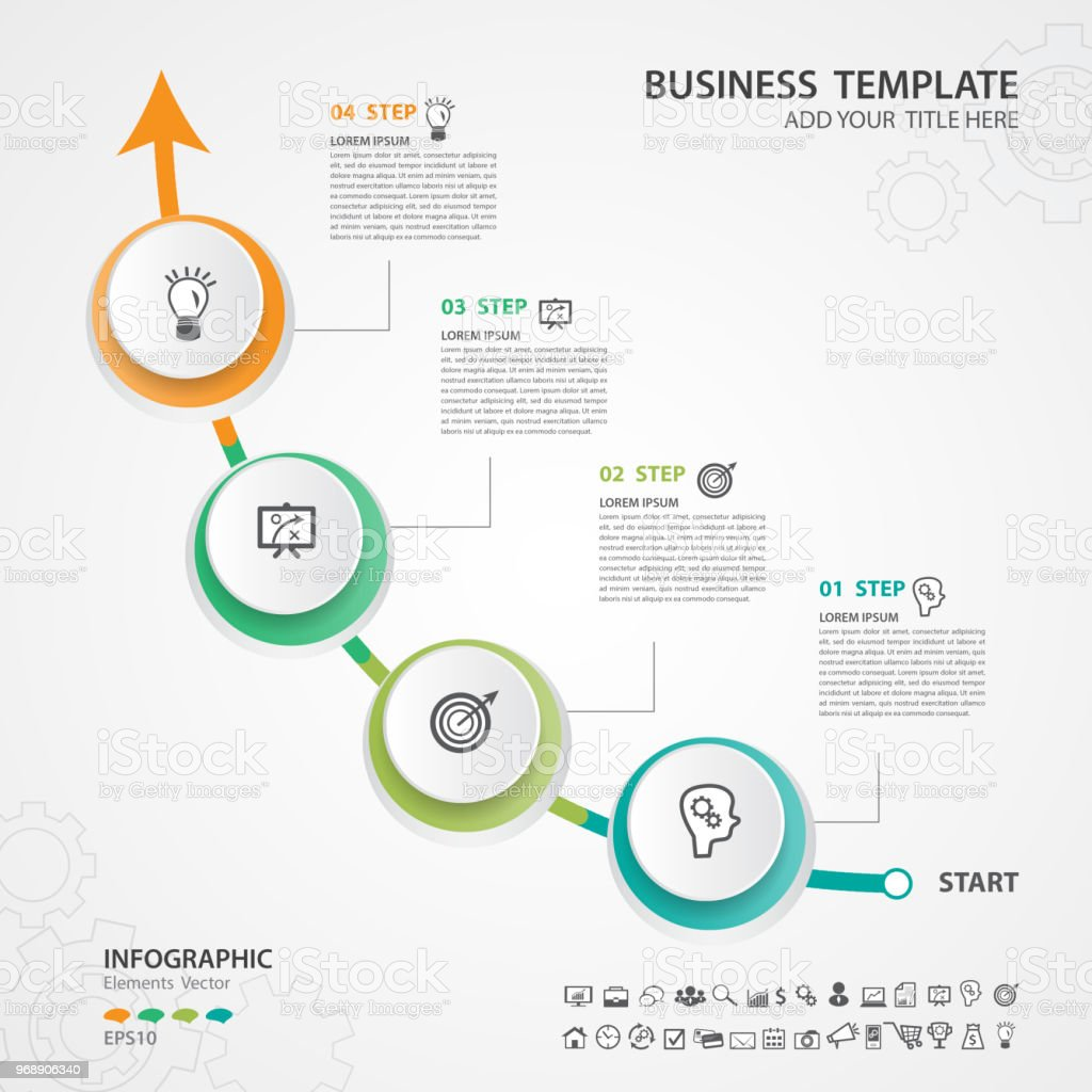 Infographic Elements template vector, circle diagram with 4 steps, Flow  Chart, Process chart