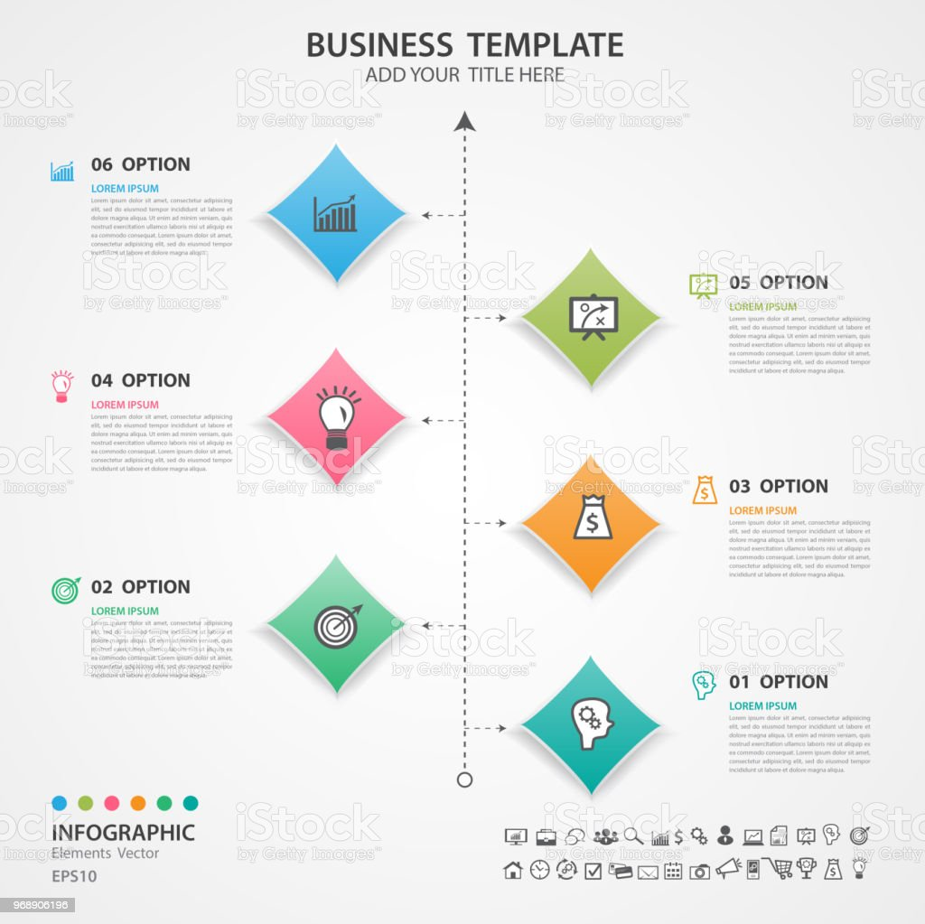 Infographic Elements Template Vector Diagram Flow Chart Process With Timeline Silde