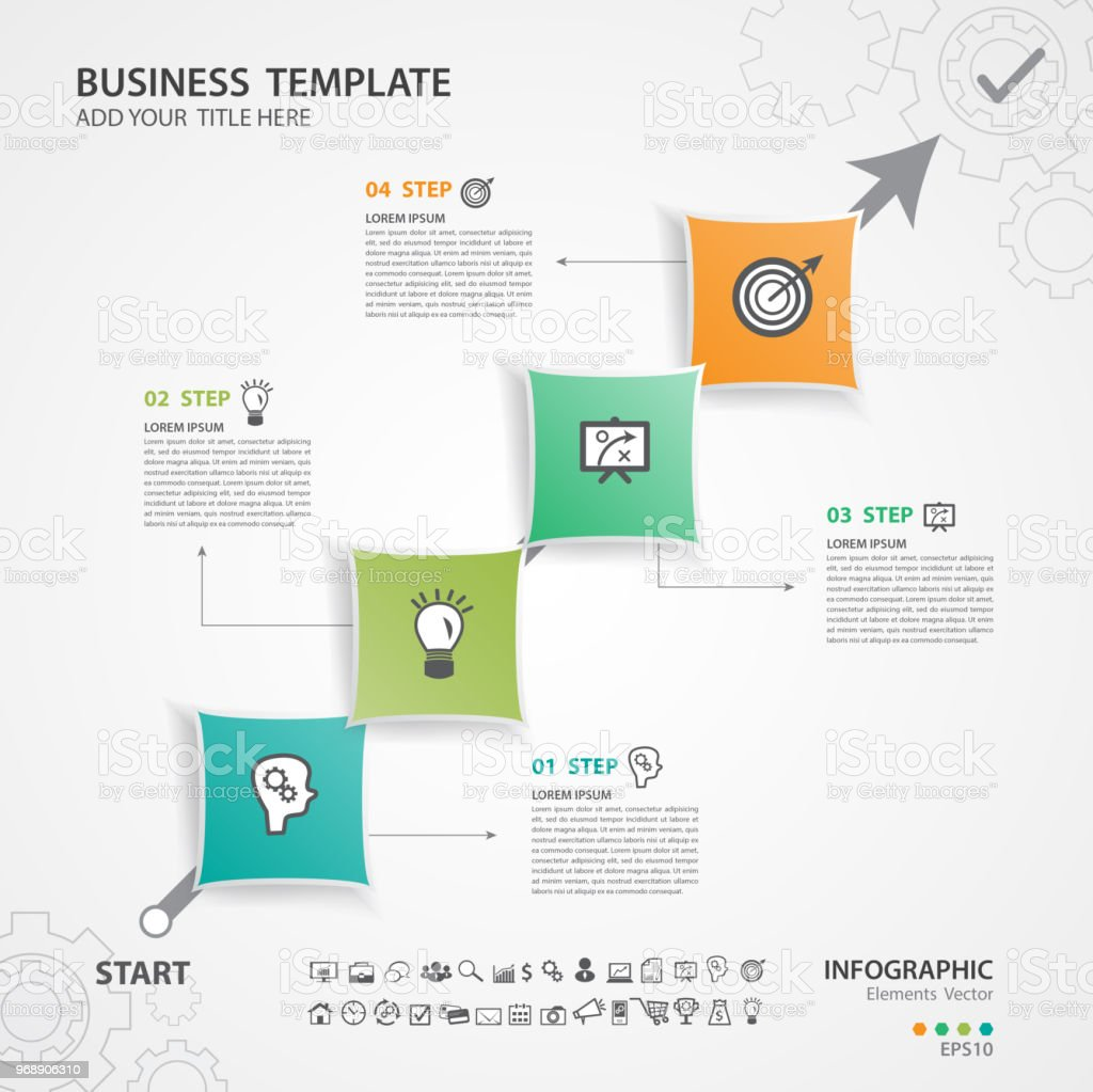 Infographic Elements Template Vector Diagram Flow Chart Process Timeline Silde