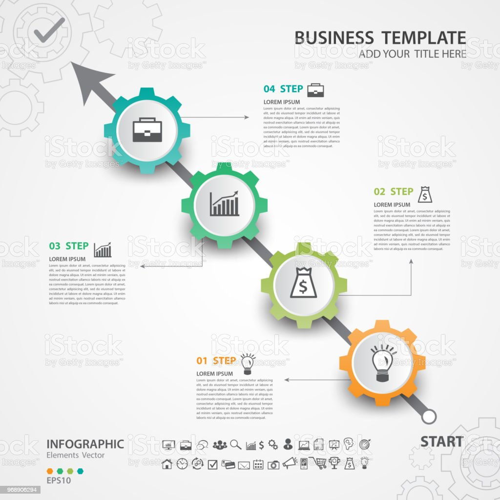 Infographic Elements Template Vector Diagram With 4 Steps Flow Chart Process Timeline