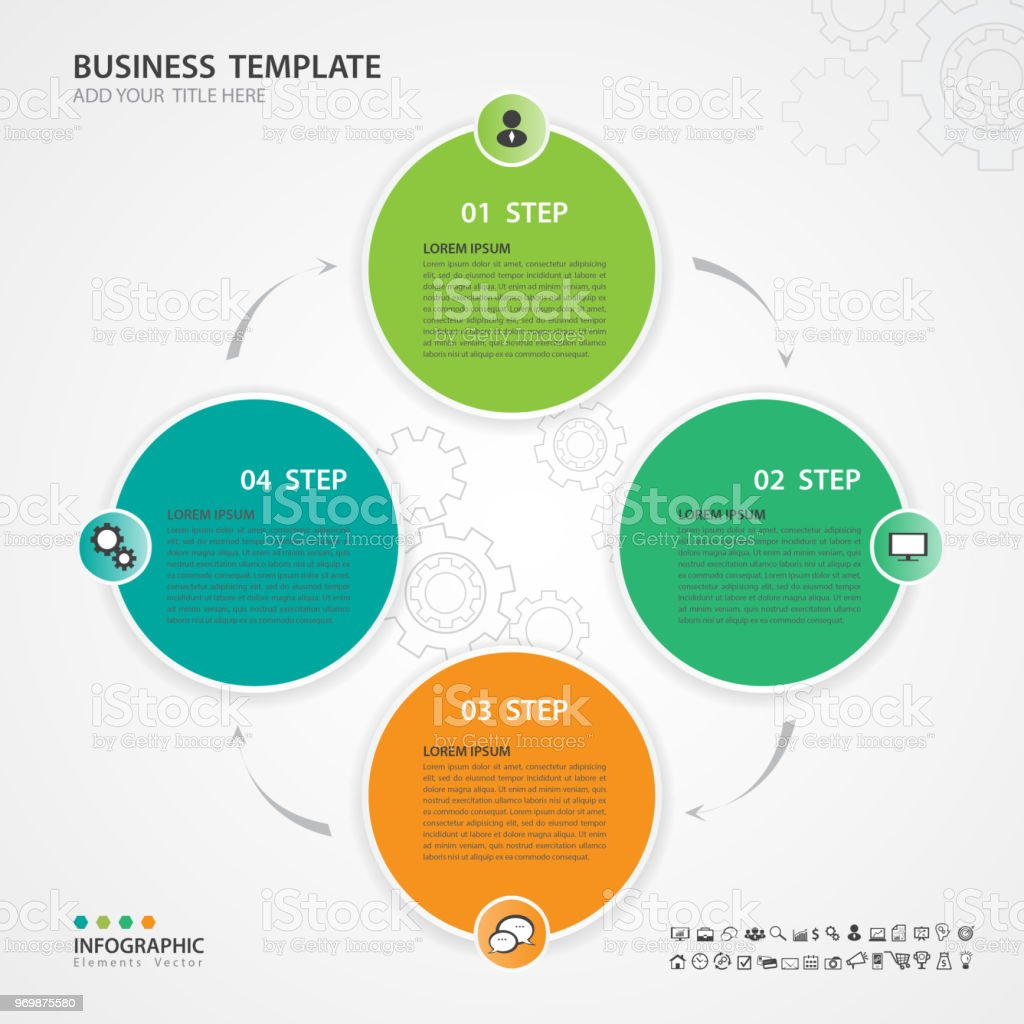 Infographic Elements Template Vector Diagram With 4 Steps Flow Chart Process Presentation