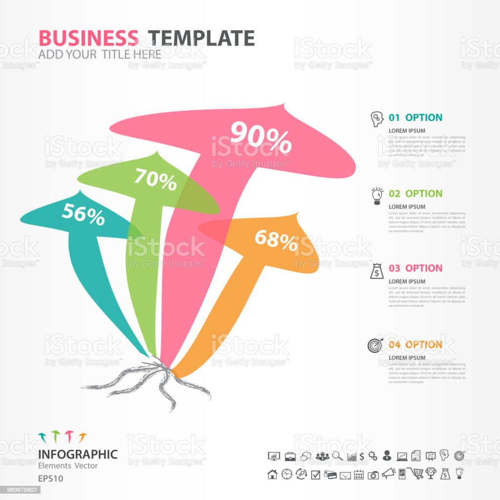 infographic elements template vector, mushroom diagram with 4 steps, flow  chart, process chart