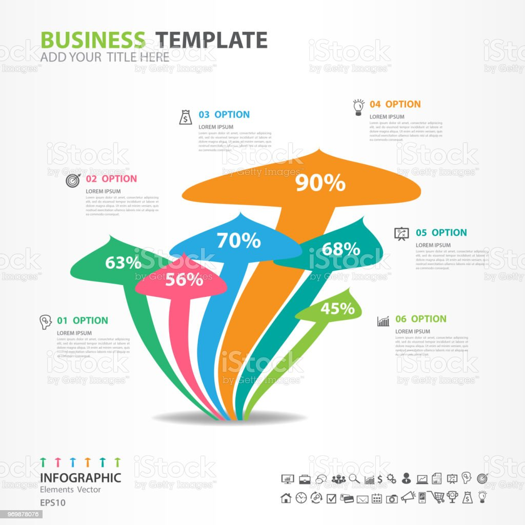 Infographic Elements Template Vector Mushroom Diagram With 6 Steps Process Flow Chart
