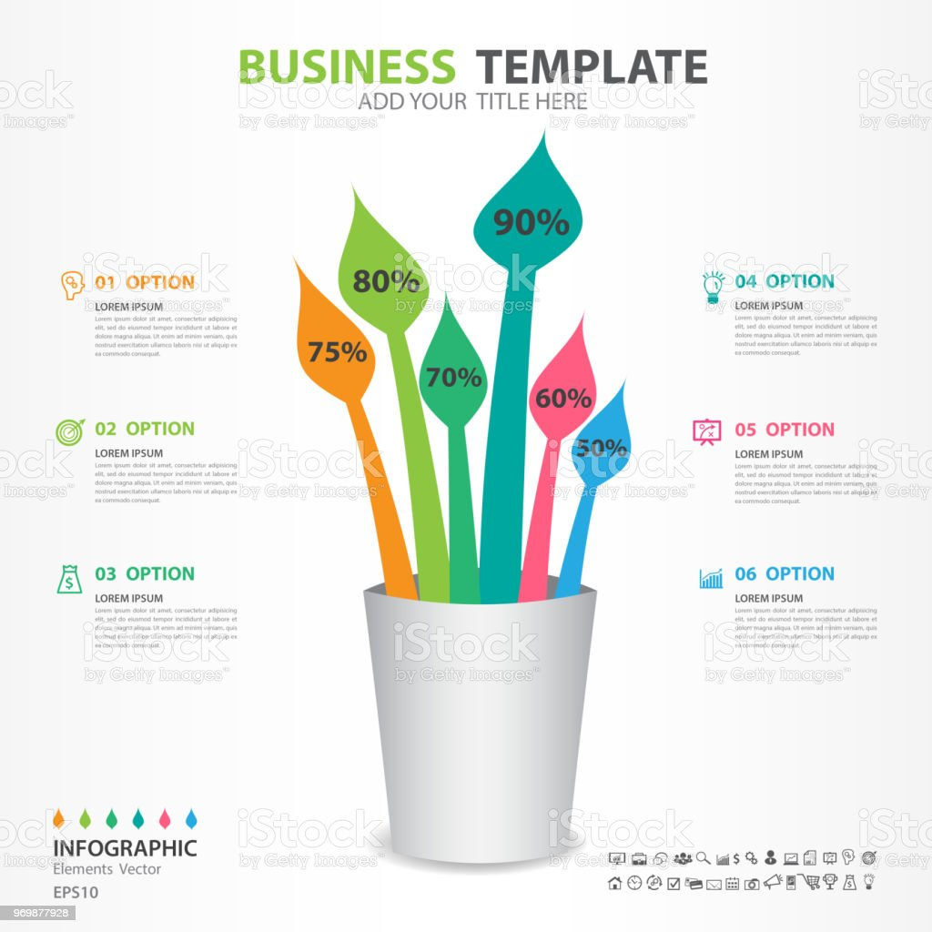 infographic elements template vector paintbrush diagram with 6 steps
