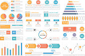 Infographic elements - bar and line charts, percents, pie charts, steps, options, timeline, people infographics, vector eps10 illustration