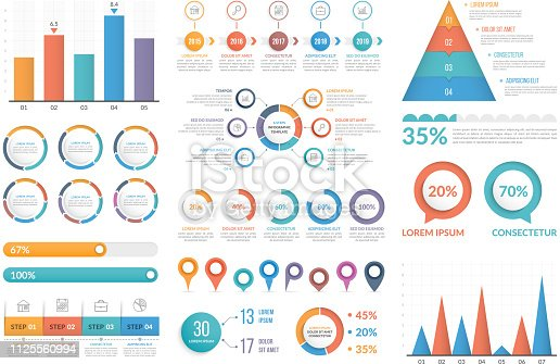 Set of infographic elements - bar chart, pyramid chart, circle diagram, timeline, steps and options, vector eps10 illustration