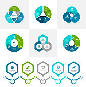 Vector illustration of the three steps infographic elements and timeline element in blue and green colors.