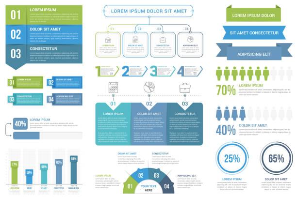 illustrazioni stock, clip art, cartoni animati e icone di tendenza di infographic elements - infografiche