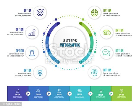Vector illustration of the infographic elements, circle diagram, timeline.