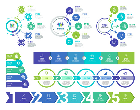 Vector illustration of the infographic elements. 5 Steps