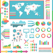 Set of elements for developing creative colorfull infographics. Charts are divided in 1, 5 and 10% pieces, therefore they are easily adaptable to your needs.