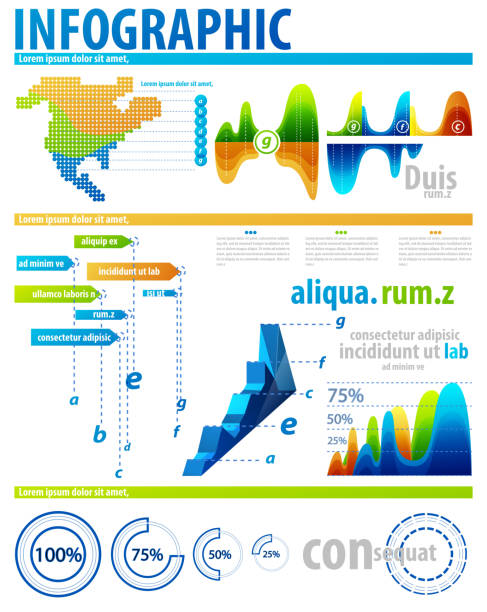 Infographic elements Clean bright color info charts good condition stock illustrations