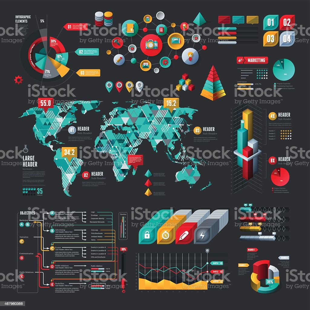 Elementi infografici - arte vettoriale royalty-free di 2015