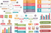 Set of infographic elements - circle diagram, bar graphs, objects with numbers and percents, timeline, buttons, vector eps10 illustration