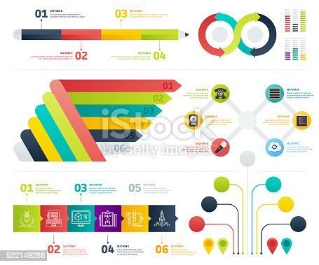 Set of infographic elements. Vector illustrations for business presentation, booklet, web site etc.