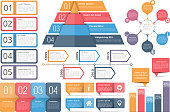 Set of infographic elements - objects with text numbers and icons, timeline, circle diagram, pyramid, bar graph, vector eps10 illustration