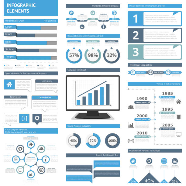 Infographic Elements Infographic elements for presentations and reports - timelines, graphs, charts, diagrams, flowchart, workflow, steps, options, percents, speech bubbles, statistics, vector eps10 illustration annual reports templates stock illustrations