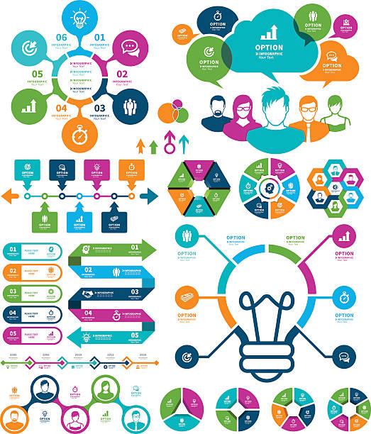 ilustraciones, imágenes clip art, dibujos animados e iconos de stock de infografía elementos  - reunión evento social