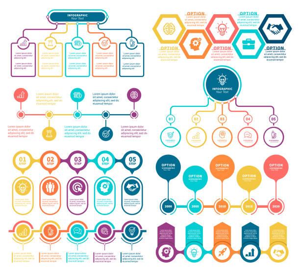 ilustraciones, imágenes clip art, dibujos animados e iconos de stock de infografía elementos  - infografías para diagramas de flujo