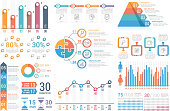 Infographic elements - bar and line graphs, process, steps, options, people infographics, pyramid, percents, vector eps10 illustration