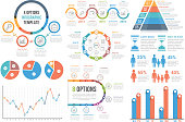 Infographic elements - bar and line charts, pie charts, steps, options, timeline, people infographics, vector eps10 illustration