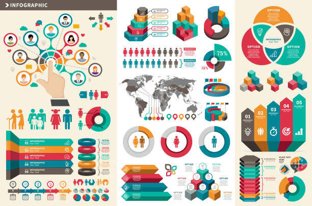 infographic elements - demographics infographics stock illustrations, clip art, cartoons, & icons