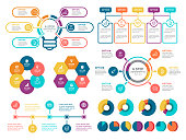 Vector illustration of the color infographic elements.