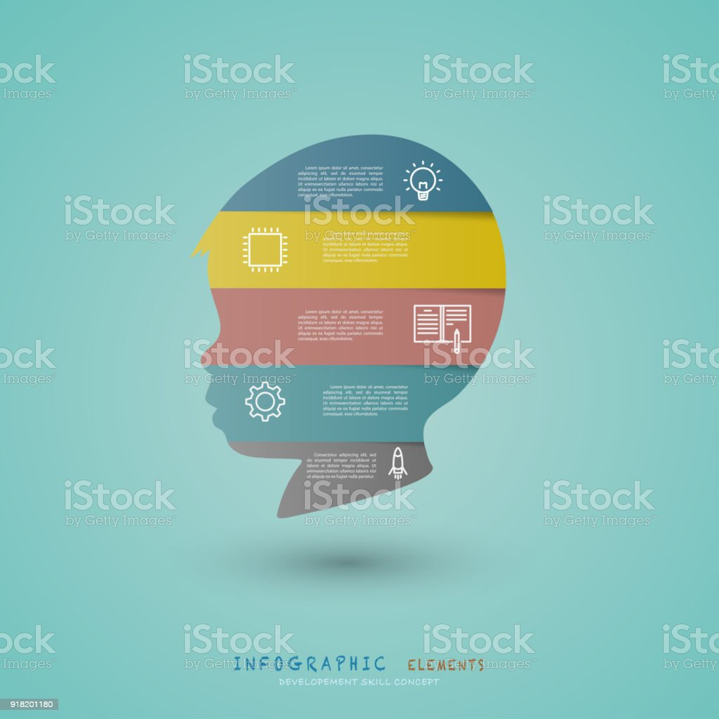 Infographic elements with child head development skill concept. vector art illustration