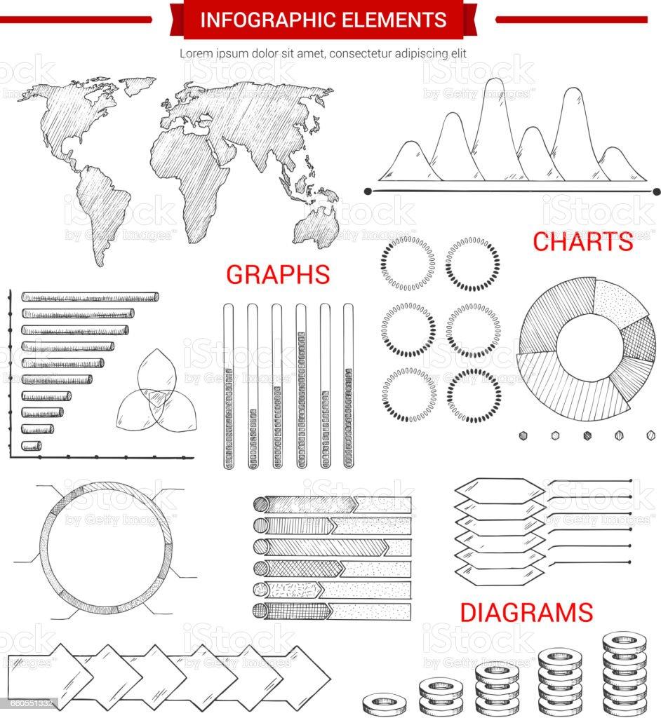 Infografik-Elemente mit skizzierten Diagramm grafisch darstellen – Vektorgrafik
