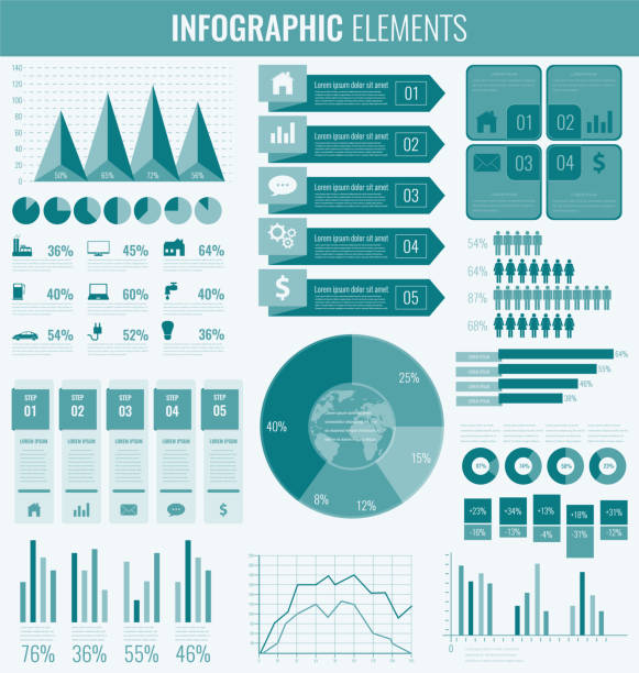 infographic elements with world map and charts. vector - demographics infographics stock illustrations, clip art, cartoons, & icons