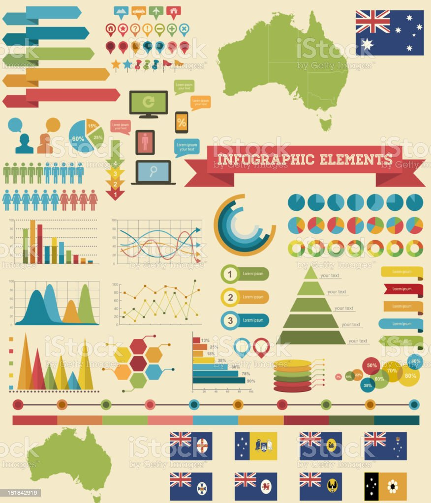 Infographic Elements-Australia vector art illustration