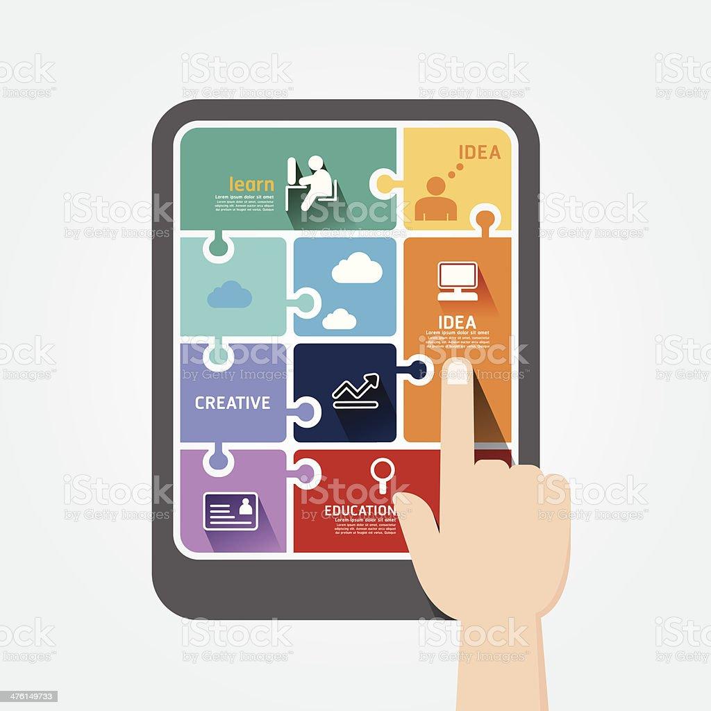 infographic finger push tablet Template jigsaw banner. royalty-free stock vector art