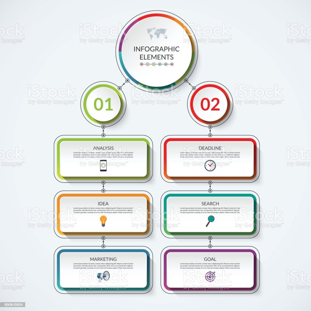 Infographic Flow Chart Template With 2 Option Circles And 6 Tabs  Royalty Free Stock Vector