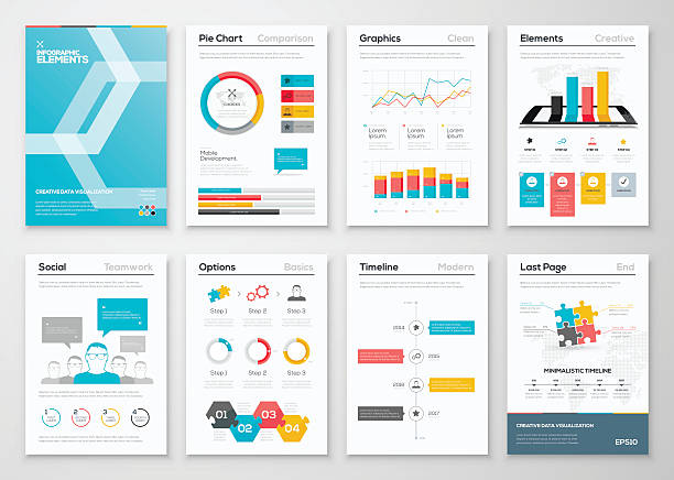 Infographic flyer and brochure designs and web templates vectors Infographic flyer and brochure designs and web templates vectors. Data visualization and statistic elements for print, website, corporate reports and graphic projects. financial report stock illustrations