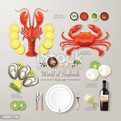 Infographic food business seafood flat lay idea. Vector illustration hipster concept.can be used for layout, advertising and web design.