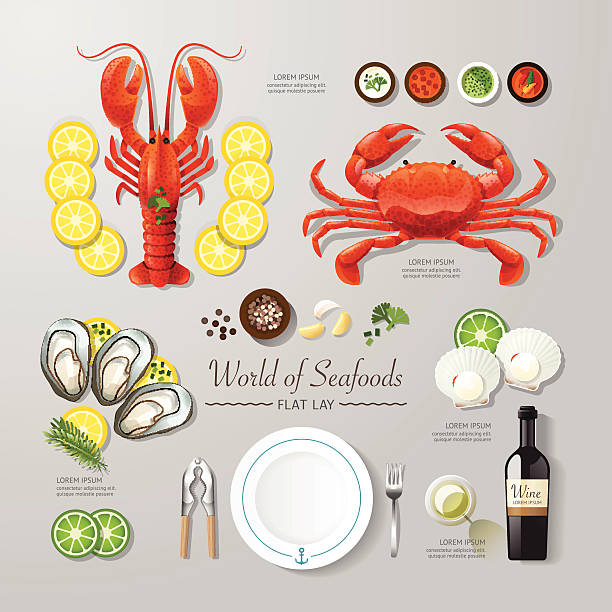 Infographic food business seafood flat lay idea. Vector vector art illustration