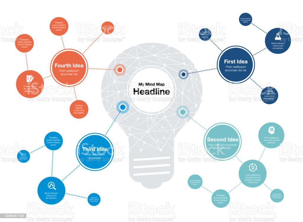 Infographic for mind map visualization template with light bulb as main symbol and colorful circles