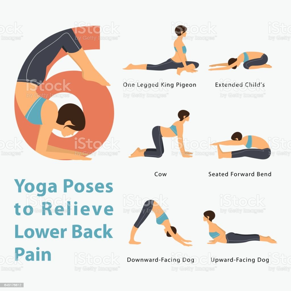 Infografik Für Yoga Stellt Um Schmerzen Im Unteren Rücken Im Flat ...