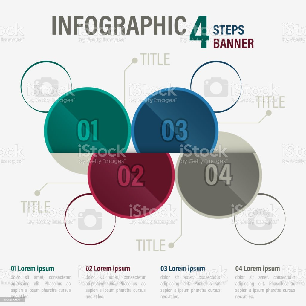 Infographic Four Steps Vector Banner With Circular Elements