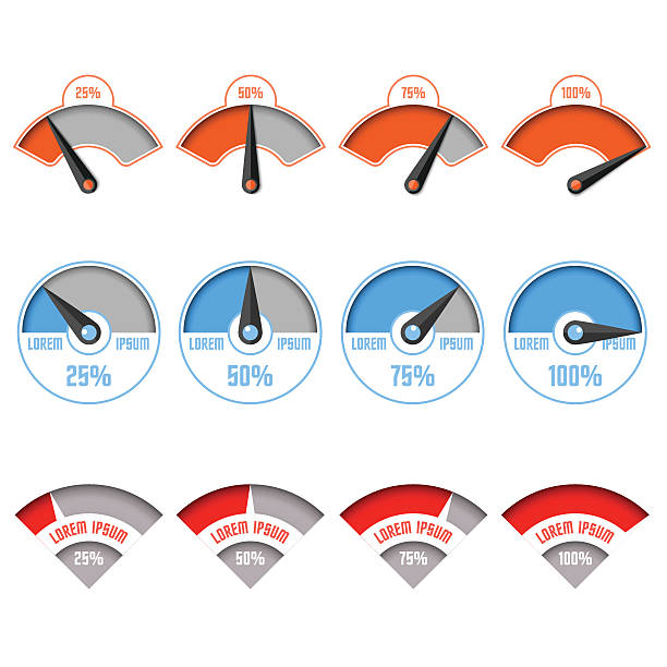 Infographic gauge chart elements Infographic gauge chart elements in vector gauge stock illustrations
