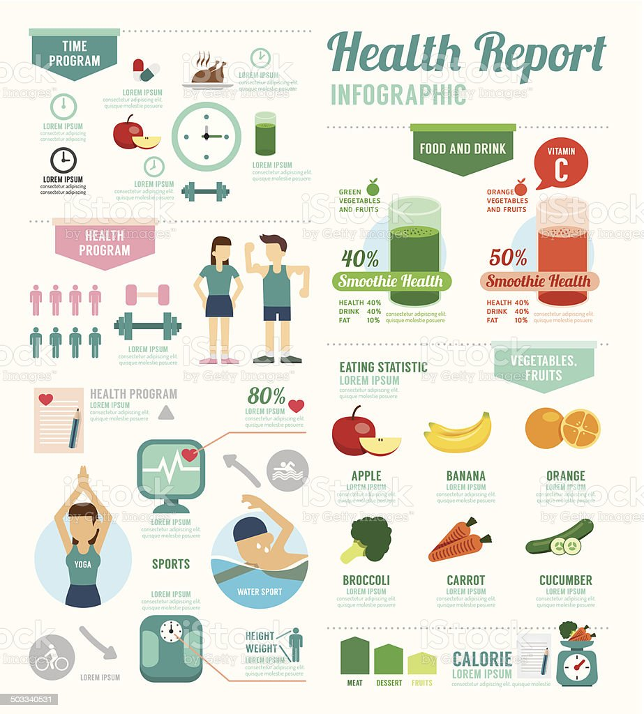 Infographic health sport and Wellness template design . concept vector art illustration