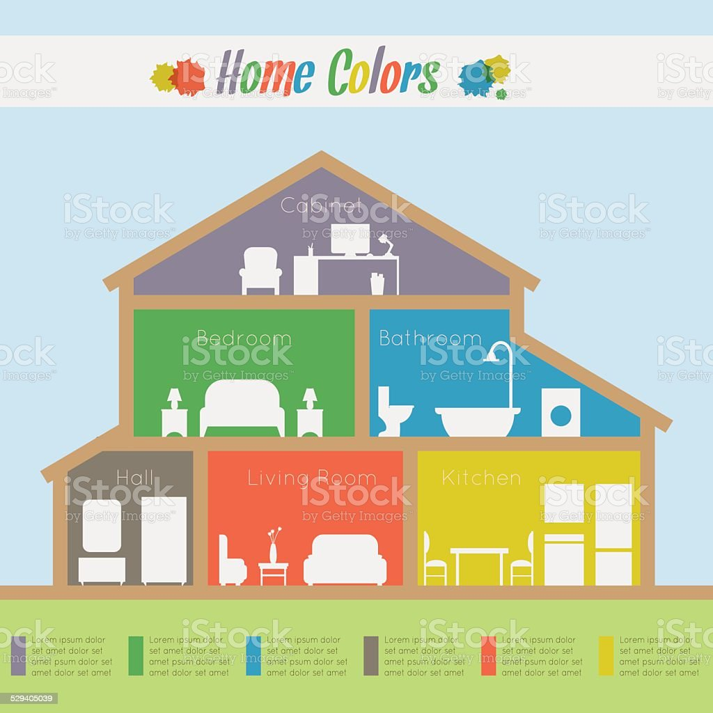 Infographic home colors vector art illustration