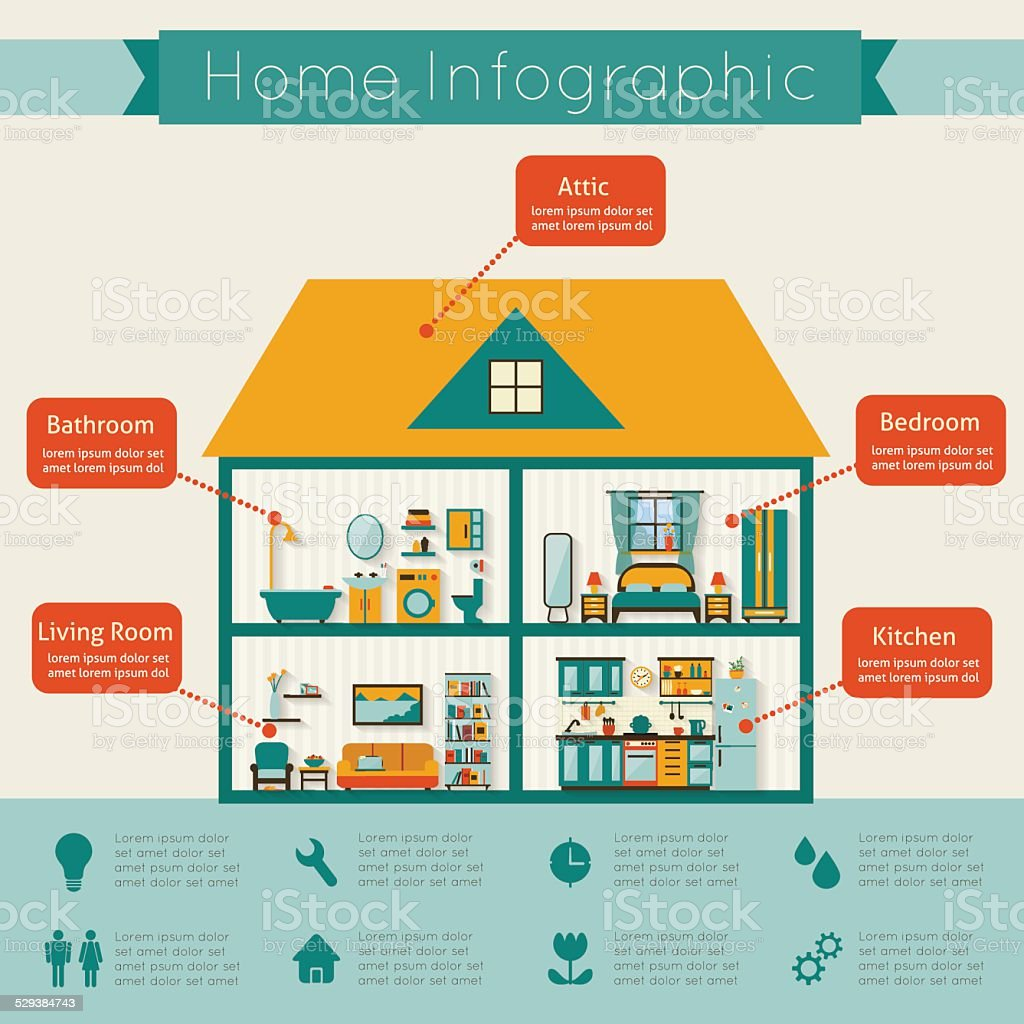 Infographic home vector art illustration