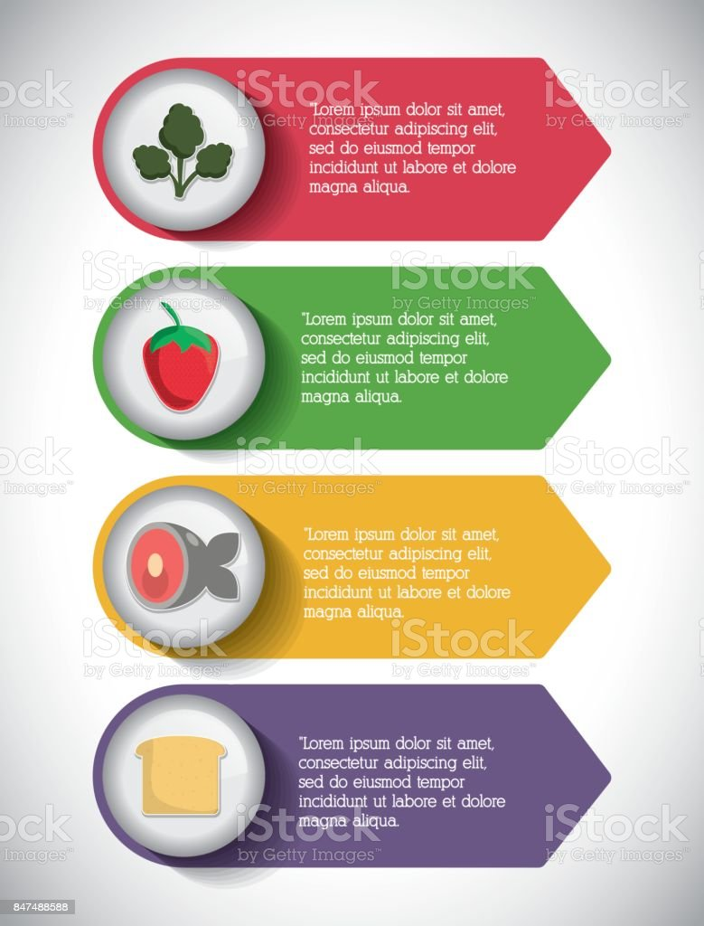 infographic icon nutrition and organic food vector graphic stock