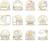 Infographic Icons Elements about Interior Design. Flat Thin Line Icons Set Pictogram for Website and Mobile Application Graphics.