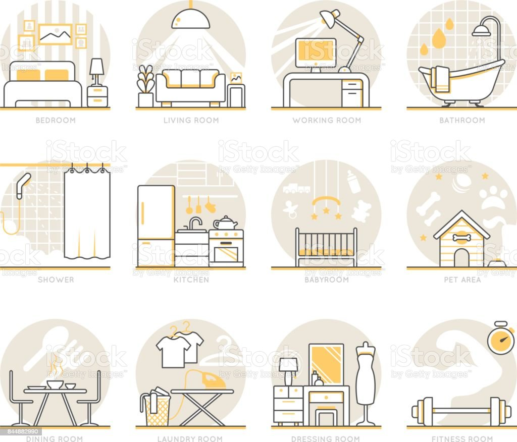 Infographic Icons Elements about Interior Design vector art illustration