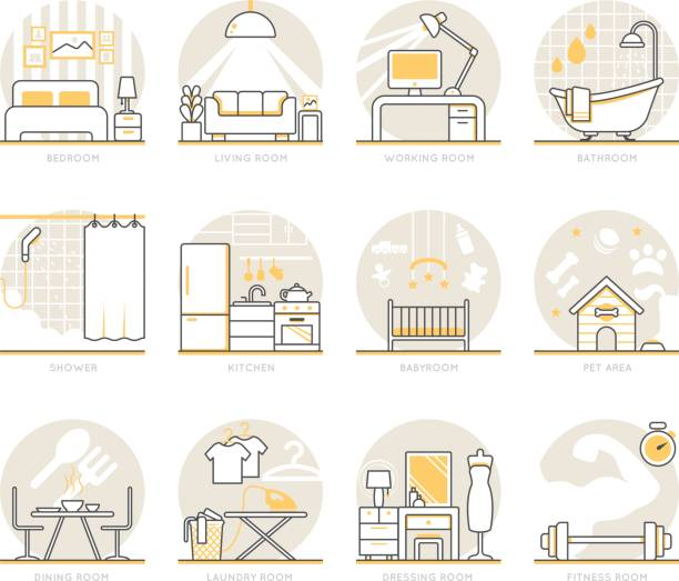 Infographic Icons Elements about Interior Design Infographic Icons Elements about Interior Design. Flat Thin Line Icons Set Pictogram for Website and Mobile Application Graphics. interior designer stock illustrations