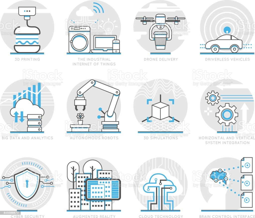 Infographic Icons Elements about Logistics technology vector art illustration